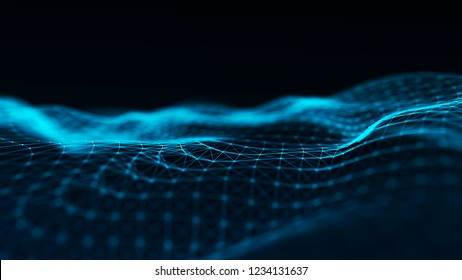 Abstract futuristic wave background. Wave of particles. Wave with connecting dots and lines. 3d rendering.