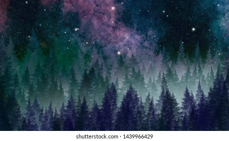 Abstract galaxy painting.. Night sky with forest. Watercolor texture for cards or creative banner design.