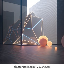 Abstract gallery interior with built-in glass volume and luminous art object. Brick wall in the background. 3d rendering, digital illustration