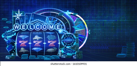 Abstract gambling casino games banner with wireframe style computer generated slot reels, poker chips, roulette wheel, dices, wheel of fortune, coins and an welcome neon sign. 3D illustration