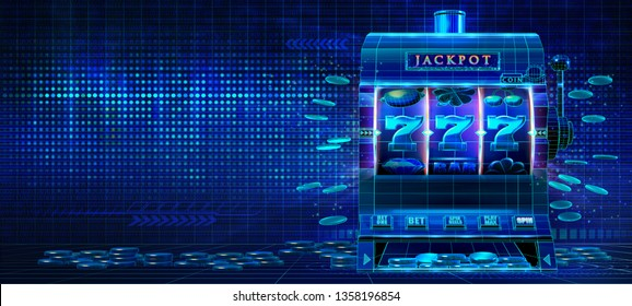 Abstract gambling casino technology banner with wireframe style computer generated jackpot slot machine. 3D Rendered illustration on a dark hi-tech futuristic grid background with techno lines