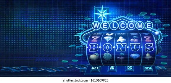 Abstract gambling concept image for online casinos offering bonus rounds on slot games. 3D illustration showing wireframe style computer generated slot reels, coins and a welcome neon sign