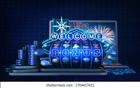Abstract gambling concept image for online casinos offering welcome bonus rounds on slot games. 3D illustration with wireframe style computer generated 5-reels slot machine and a welcome neon sign