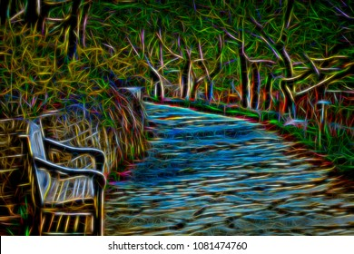 Abstract of garden path like a stream flowing between trees and wooden bench by retaining wall, with digital glow effect, for themes of night, dreams, alternate reality