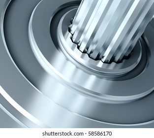 Abstract gear close-up. 3D illustration.