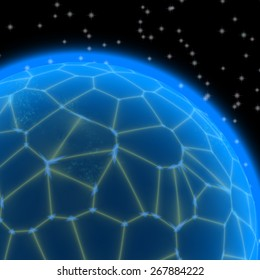 Abstract generated blue planet with yellow net on black sky with stars