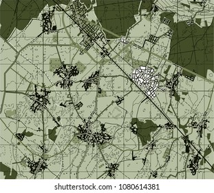 Abstract geographical map. Green  image. Background monochrome. military map