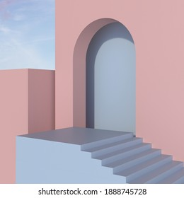 Abstract geometric background, Arch, Staircase, Pink and blue colors, 3D Rendering.