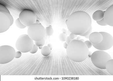 Abstract geometric background with balls in tunnel of boards. 3D illustration.