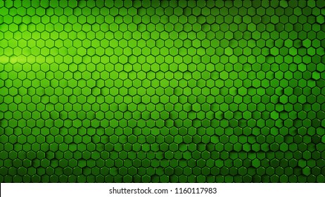Abstract geometric background with green hexagons. Computer generated abstract graphics. 3D render illustration