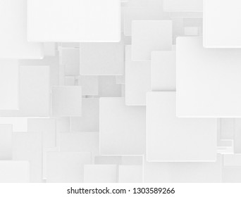 Abstract geometric background. Overlapping white 3d squares. 3D illustration