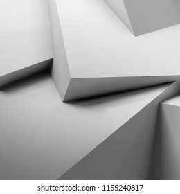 Abstract geometric background with realistic overlapping white cubes. 3D illustration