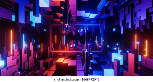 Abstract geometric background sci-fi construction of cubes or space station, blue yellow neon glowing light, blank horizontal rectangular frame. Copy space. 3d illustration