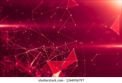 Abstract geometric background with triangular cells for design. Bright red digital illustration with polygons on a dark background.