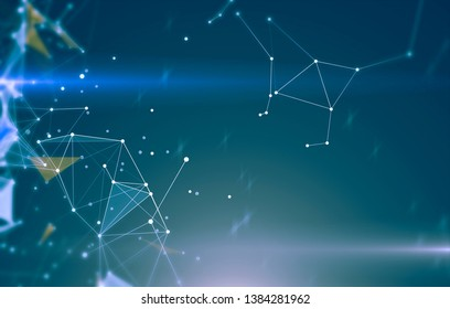 Abstract geometric background with triangular cells for design. Bright blue digital illustration with polygons on a dark background.