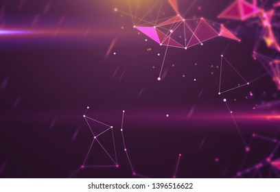 Abstract geometric background with triangular cells for design. Bright pink digital illustration with polygons on a dark background.