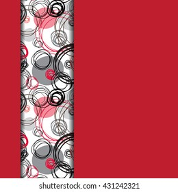 Abstract geometric background. Vertical border stripe design. Black red gray hand drawn intersecting outline circles elegant ornament in white and red background. Abstract element of graphic design.