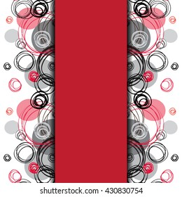 Abstract geometric background. Vertical center border stripe design. Black red gray hand drawn intersecting outline circles elegant ornament in white red background. Abstract element of graphic design