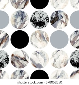 Abstract geometric background. Water color marble painting. Watercolor circle seamless pattern. Circles with water color marbling, grained, grunge, paper textures. Hand painted illustration