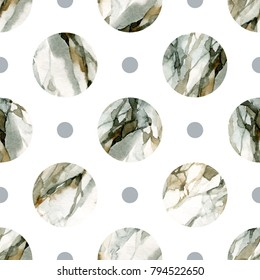 Abstract geometric background. Water color marble painting. Watercolor circle seamless pattern. Circles with water color marbling, grained, paper textures. Hand painted illustration