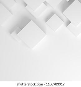 Abstract geometric background with white cubes on white. 3D render.