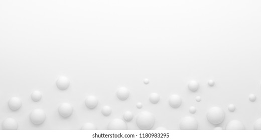 Abstract geometric background with white spheres on white. 3D render.