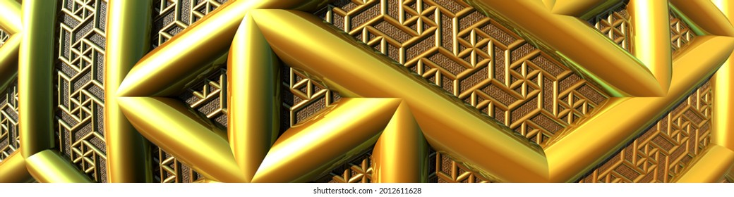 Abstract geometric banner made of fractals. 3d fractal graphic, part of a huge fractal, calculated with Mandelbulb 3D program, JPEG Graphic