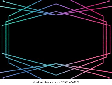 Abstract geometric banner template in dark colors with holography decoration. Holographic gradients geometric frames on black background for card design.