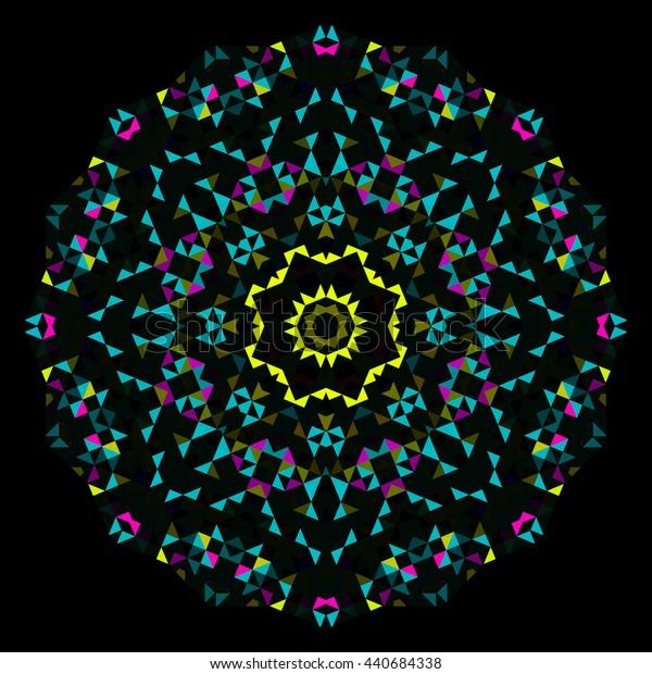 Abstract Geometric Bright Kaleidoscope Pattern. Circle Symmetric Design. Round Flower Ornament