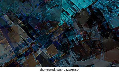 Abstract geometric city urban design futuristic concept digital illustration background