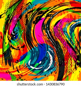 Abstract geometric colored background in the style of graffiti. Qualitative illustration for your design