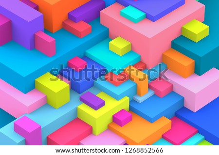Abstract geometric cubic colorful