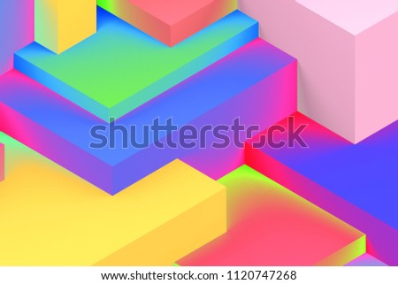 Abstract geometric cubic holographic