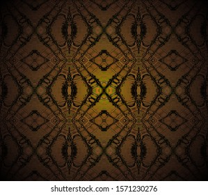 Abstract geometric dark background, seamless diamond pattern in brown shades, centered, shining and blurred