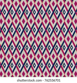 Abstract geometric diamonds pattern in blue, fuchsia and brown.