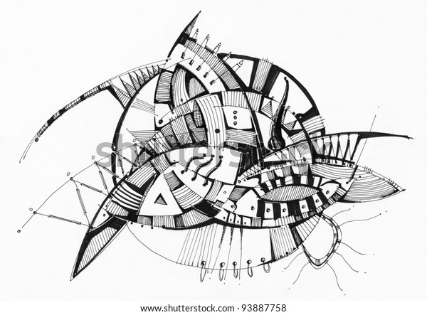 Abstract Geometric Drawing Pen On White Stock Illustration