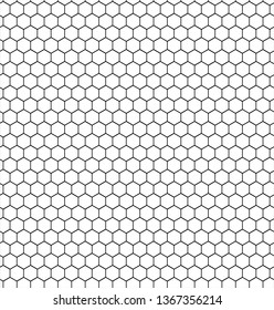 Abstract geometric graphic seamless black and white hexagon pattern