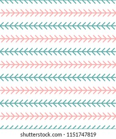 Abstract geometric herringbone pattern. Classic monoline fishbone background in pink, teal, and white. Backdrop with horizontal arrow-like stripes. Raster seamless repeat.