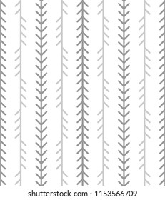 Abstract geometric herringbone pattern. Classic monoline fishbone background in grey and white colors. Backdrop with vertical fir tree-like stripes. Raster seamless repeat.
