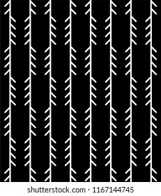 Abstract geometric herringbone pattern. Classic monoline fishbone background in black and grey colors. Backdrop with vertical fir tree-like stripes. Raster seamless repeat.