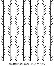 Abstract geometric herringbone pattern. Monoline fishbone background in black and white colors. Backdrop with vertical pine tree-like stripes. Raster seamless repeat.