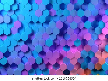 Abstract geometric hexagonal background, blue, pink and purple.  3D render / rendering.