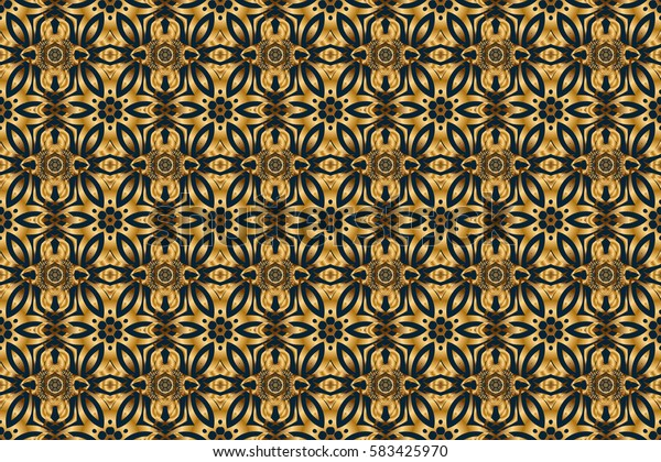 Abstract geometric modern background. Shiny backdrop. Art deco style. Polka dots, confetti. Raster illustration. Blue and gold seamless pattern. Texture of gold foil.
