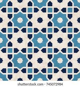 Abstract geometric mosaic pattern, marbled tiles in Moorish style, textured seamless illustration