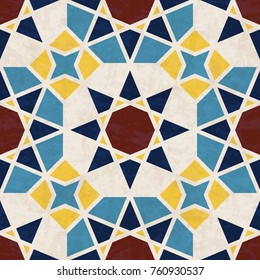 Abstract geometric mosaic pattern with polygons and stars, marbled tiles in Moroccan style, textured seamless illustration