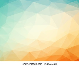 abstract geometric orange - blue background with triangles, bitmap copy