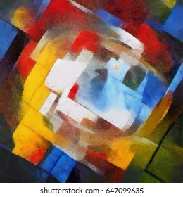 Abstract geometric painting in the style of Picasso. Oil on canvas with elements of pastel painting. Famous style of Georges Braque, Matisse, van Gogh and Pollock.