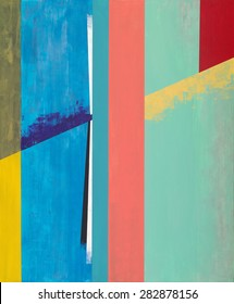 An abstract geometric painting with vertical strips of color and a diagonal