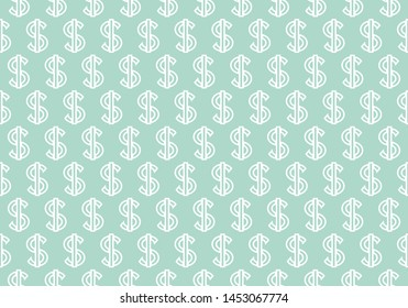 Abstract geometric pattern with dollars. A seamless background. White and blue ornament. Graphic modern pattern. Simple lattice graphic design - illustration