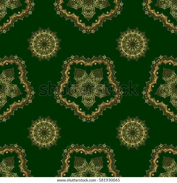Abstract geometric pattern. Golden background. Seamless geometric pattern. Golden texture. Seamless pattern on a green background. Geometric background with rhombus and nodes.